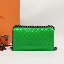 SALE*** Authentic Chanel Boy Medium Patent Green Flap Bag with RECEIPT  image 3