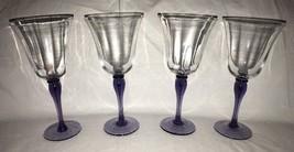 """4 Amethyst Lavender Stemmed 9.5"""" Tall Crystal Wine Glasses / Goblets Bel... - $39.59"""