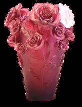 DAUM Crystal Red vase & white flower Rose Passion 05308-1 France - $8,019.00