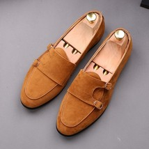 Handmade Men's Brown Slip Ons Suede Double Monk Dress Shoes image 4