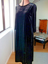 Appleseeds Womens Size M L Dark Black Velvet Dress Long Midnight Stretch... - $19.99