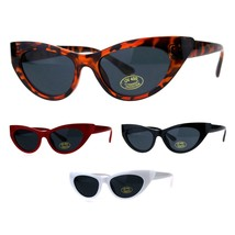 Womens Futuristic Retro Narrow Goth Cat Eye Plastic Sunglasses - $9.95
