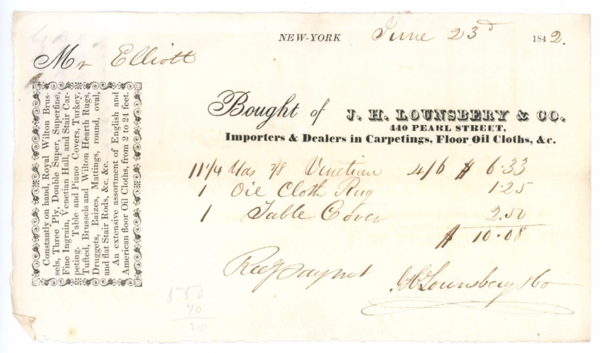 Lounsberry New York antique invoice waybill 1842 carpets oil cloths fabric texti