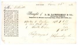 Lounsberry New York antique invoice waybill 1842 carpets oil cloths fabr... - $14.00