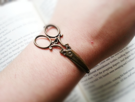Antique Brass Scissors Bracelet Hairdresser Gift Scissor Cuff Bracelet S... - $27.00