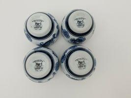Pier 1 Imports Porcelain Tea Cups Sake Set of 4 White Blue Floral Dish Safe image 10