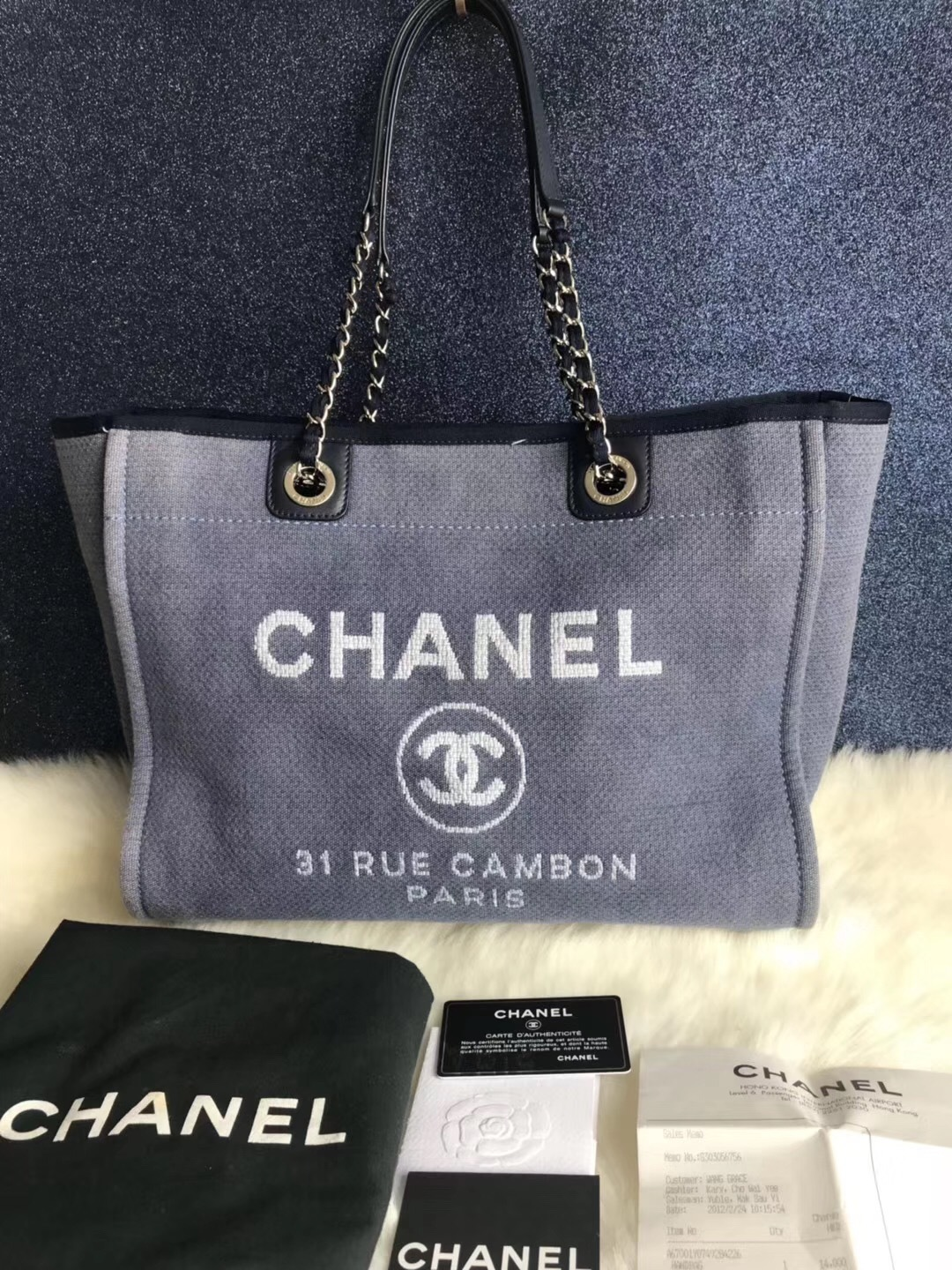 509ac452b3 AUTHENTIC CHANEL BLUE MEDIUM CANVAS DEAUVILLE 2 WAY TOTE BAG RECEIPT ...