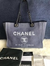 AUTHENTIC CHANEL BLUE MEDIUM CANVAS DEAUVILLE 2 WAY TOTE BAG RECEIPT - $1,888.00