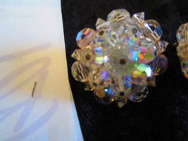Vintage clear AB crystal earrings So Downton abbey clip on  lot 106 redo - $22.00