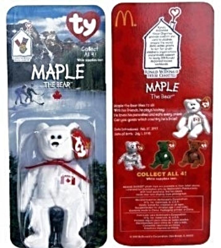Maple Canadian Bear - McDonald's Ty Teenie Beanie MIP - 1999, Retired