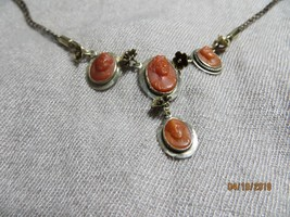 """Victorian c.1880 Carved Salmon Red Coral Cameo's 9-10k Gold 16"""" Choker Necklace - $399.99"""