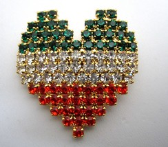 IRISH Green White Orange RHINESTONE HEART FLAG PATTERN PIN St Patrick Va... - $16.95