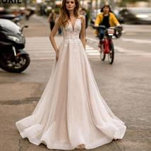 Sexy V-neck Open Back Shiny Tulle Beaded Lace Appliqued Princess A- Line Wedding image 3
