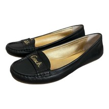 Coach Size 6 Olson Calf Leather Loafers Shoes Black Slip On Career Flats - $39.59