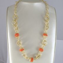 Silver Necklace 925 Yellow Gold Plated Circles Worked with Spheres Carnelian image 3
