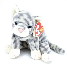 TY Beanie Baby Original Silver Tabby Cat Plush Beanbag Toy Doll - $5.93