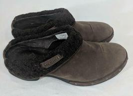 LM Women's 9 Merrell Luxe Knit Brown Studded Nubuck Slip-On Clog Mule Shoes EUC image 3