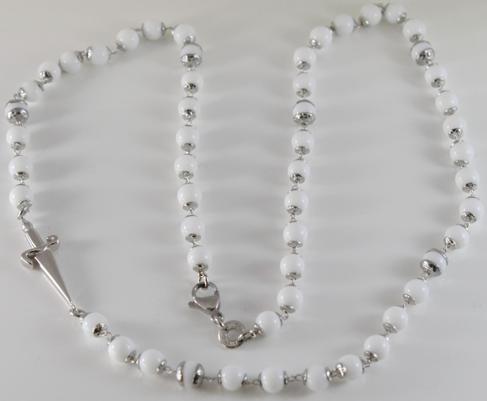 925 STERLING SILVER NECKLACE BY CESARE PACIOTTI WITH WHITE AGATE SWORD 26 inches