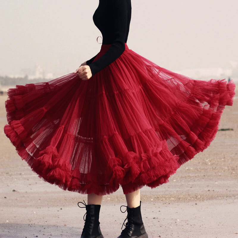 Burgundy Midi Puffy Tutu Skirt Burgundy High Waisted Layered Tulle Skirt Plus