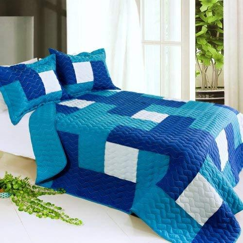 [Blue Hour] 3PC Vermicelli-Quilted Patchwork Quilt Set (Full/Queen Size)