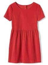 Gap Kids Girl Red Cord Short Sleeves Crew Neck Cotton Fit & Flare Dress ... - $24.74