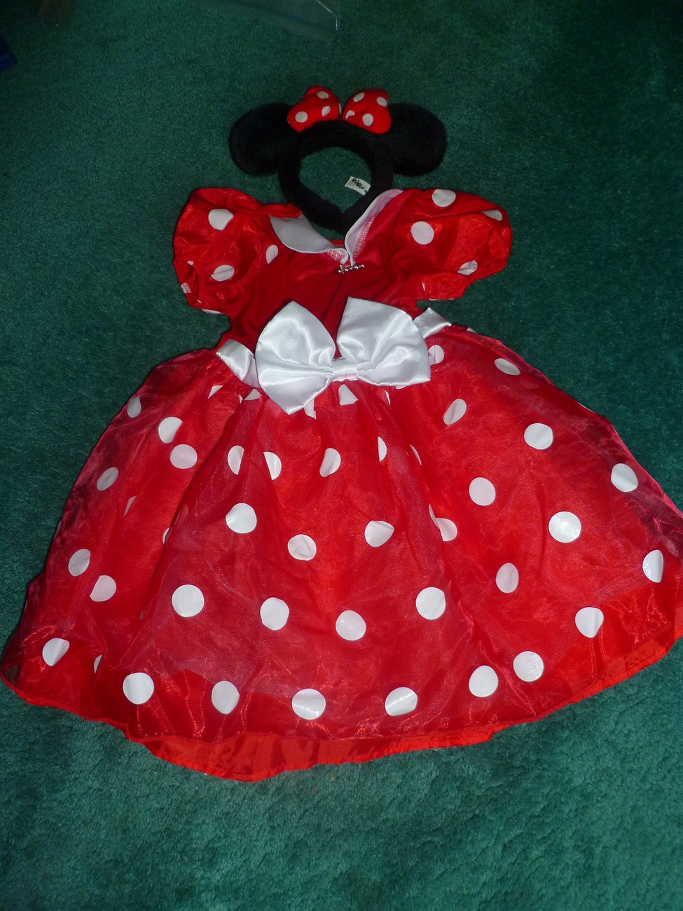 DISNEY STORE MINNIE MOUSE HALLOWEEN COSTUME SIZE 4 - 5 WITH EARS