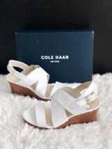 ✨New COLE HAAN Penelope Wedge Leather Sandals Womens Size 9.5B White $17... - $65.28