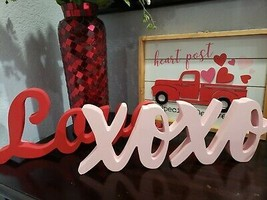 (2) Valentines Day Pink Red XOXO LOVE Wood Sign Home Decor Decoration  - $34.99