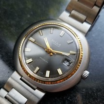 Mens Bulla 43mm Gold-Plated Hand Wind w/Date, c.1970s Swiss Vintage SIW39 - $659.38