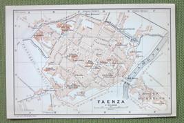 1909 MAP ORIGINAL Baedeker - ITALY Faenza City Plan - $4.73