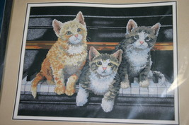 "2000 SUNSET Cat Themed ""Meowsical Trio"" 14""x11"" No Count Cross Stitch Kit #13950 - $14.24"