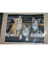 "2000 SUNSET Cat Themed ""Meowsical Trio"" 14""x11"" No Count Cross Stitch Ki... - $14.24"