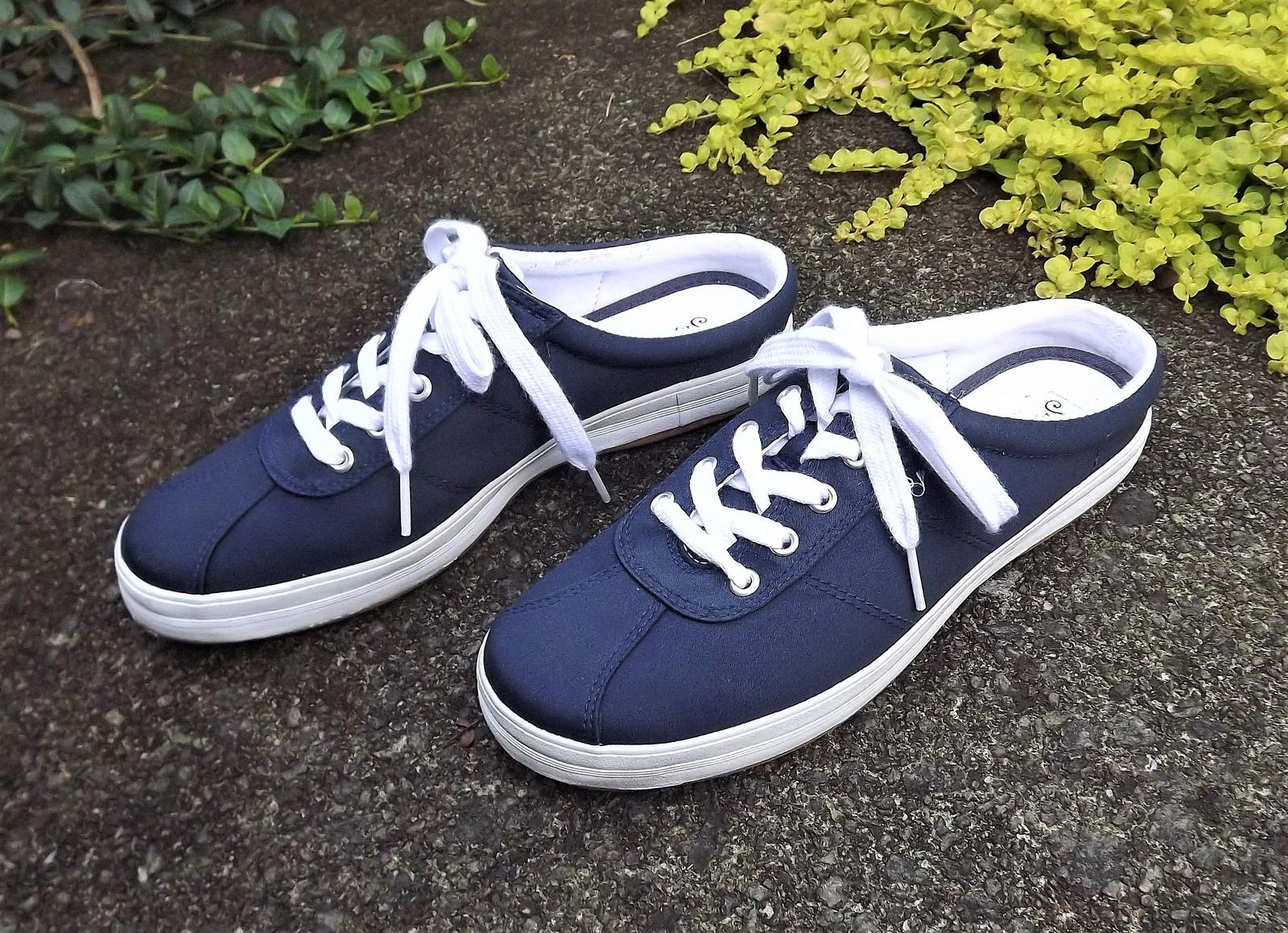 4d3a030953e Navy blue sling back tennis shoes 3. Navy blue sling back tennis shoes 3.  Previous. Navy Blue Canvas Slingback Open Heel Lace Up Tennis Shoe Women US  Size 8 ...