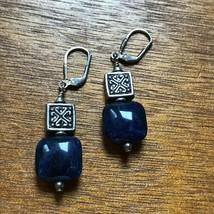 Estate Blue Glass or Lapis Stone & Ornate SIlvertone Square Bead Dangle ... - $12.19