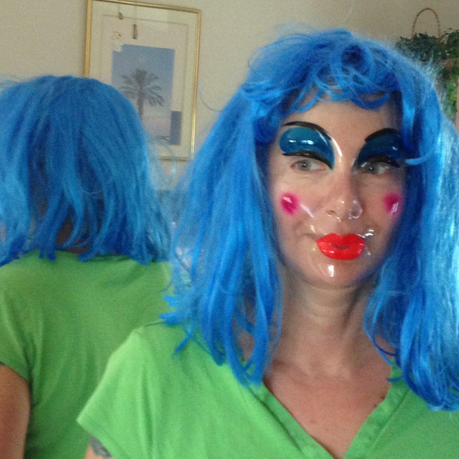 Bright Blue Straight Wig and Clear Painted Lady Mask Medium Length Hair