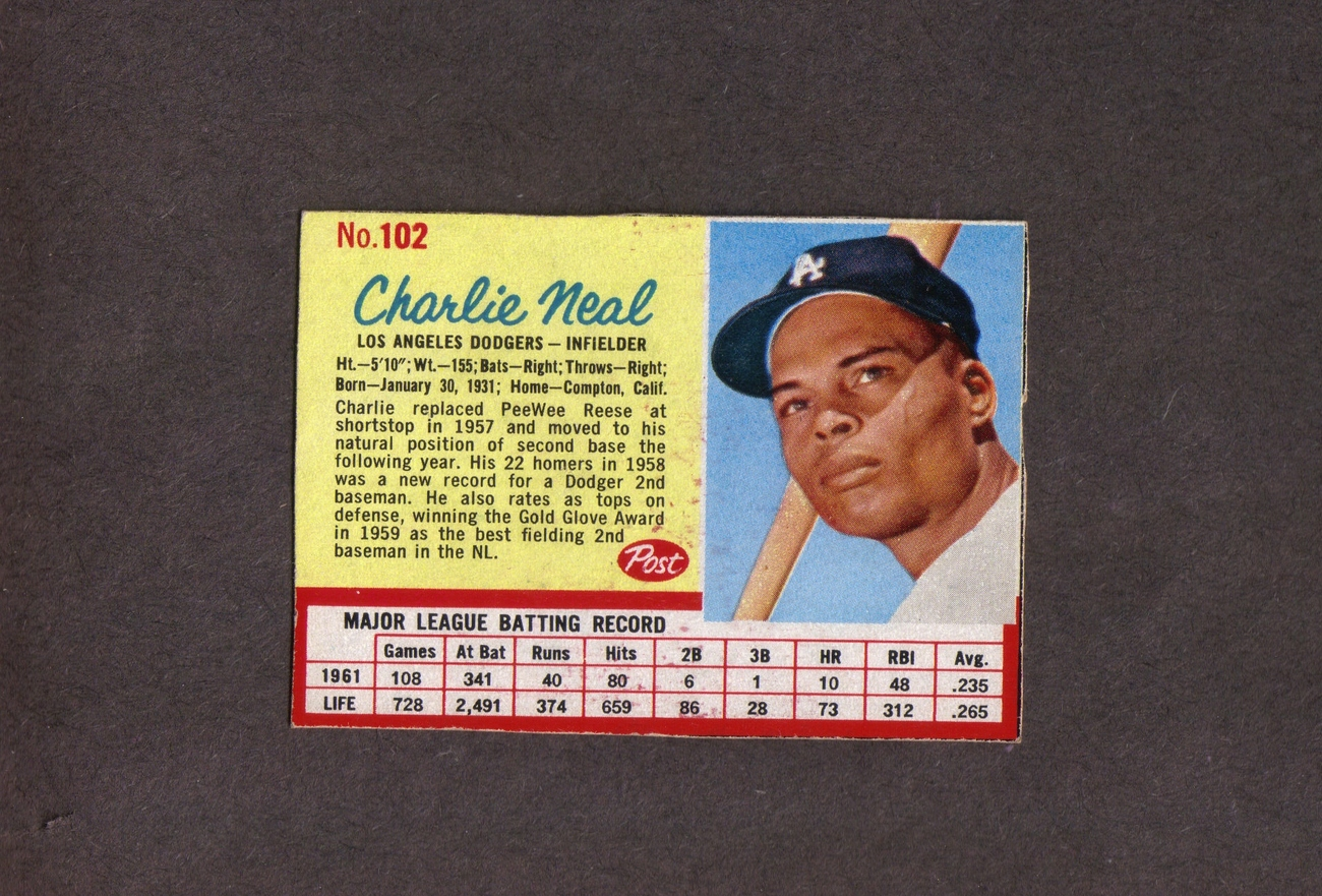 1962 Post # 102 Charlie Neal Los Angeles Dodgers