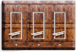RUSTIC WOOD RANCH BARN DOOR LIGHT 3 GANG GFI SWITCH PLATE ROOM CABIN HOU... - $16.19