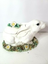 """Bunny Rabbit Tureen Cookie Jar 9"""" Large Figural Ceramic Floral Made in I... - $89.97"""