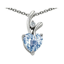 7MM OR 9MM HEART SHAPE AQUAMARINE PENDANT SOLID 14K YELLOW OR WHITE GOLD... - $25.82+
