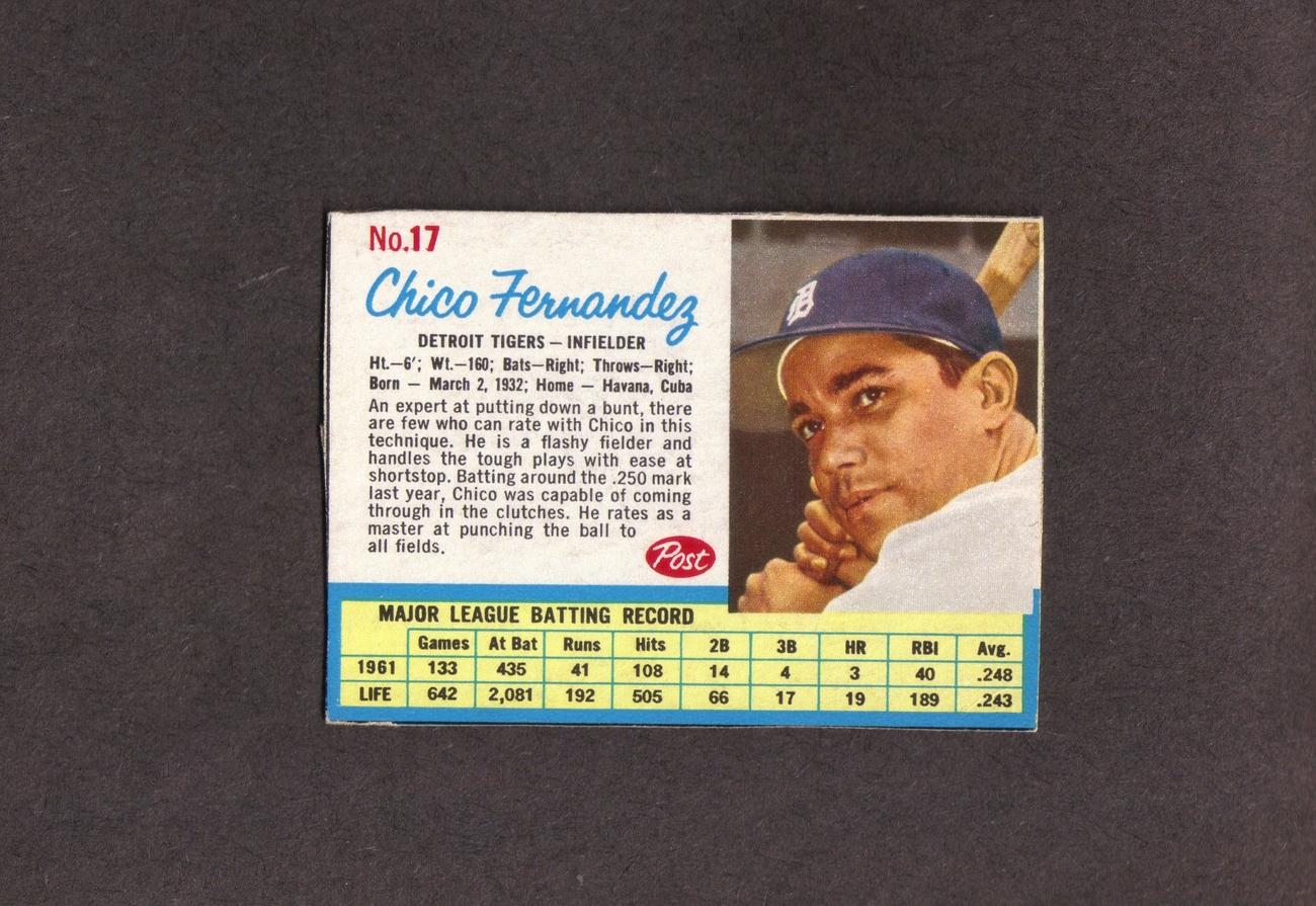 1962 Post # 17 Chico Fernandez Detroit Tigers