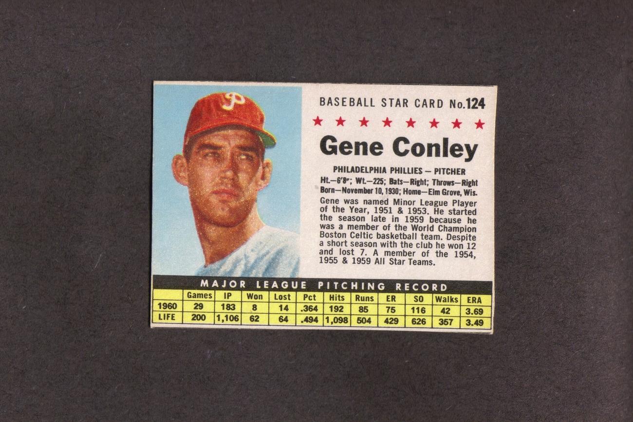 1961 Post # 124 Gene Conley Philadelphia Phillies