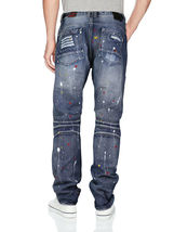 Contender Men's Cotton Moto Quilted Zip Distressed Ripped Destroyed Denim Jeans image 9