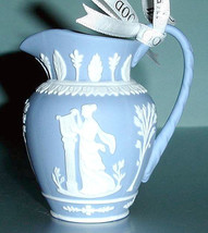 Wedgwood Iconic Blue Pitcher Christmas Ornament White Relief New - $36.90