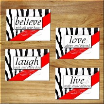 Red ZEBRA Wall Art Print Picture Inspiration Word Quotes Love Laugh Live Believe - $13.99