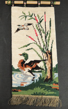 Needlepoint Completed Wall Hanging Mallard Duck... - $22.27
