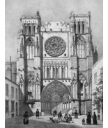 FRANCE St. Andrew Cathedral at Bordeaux - SUPERB 1843 Antique Print - $39.60