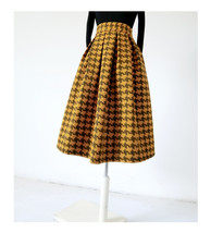 Winter Yellow Houndstooth Skirt Women Houndstooth Midi Pleated Skirt Wool Plus image 4