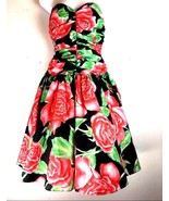 Vintage Prom Party Dress 7 8 Taffeta Rose Full Skirt Ruched Bow Supersti... - $79.99