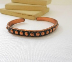 Vintage Marked Solid Copper Skinny Bead Design Cuff Bracelet B18 - $16.99