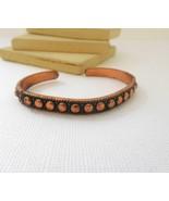 Vintage Marked Solid Copper Skinny Bead Design Cuff Bracelet B18 - $16.99